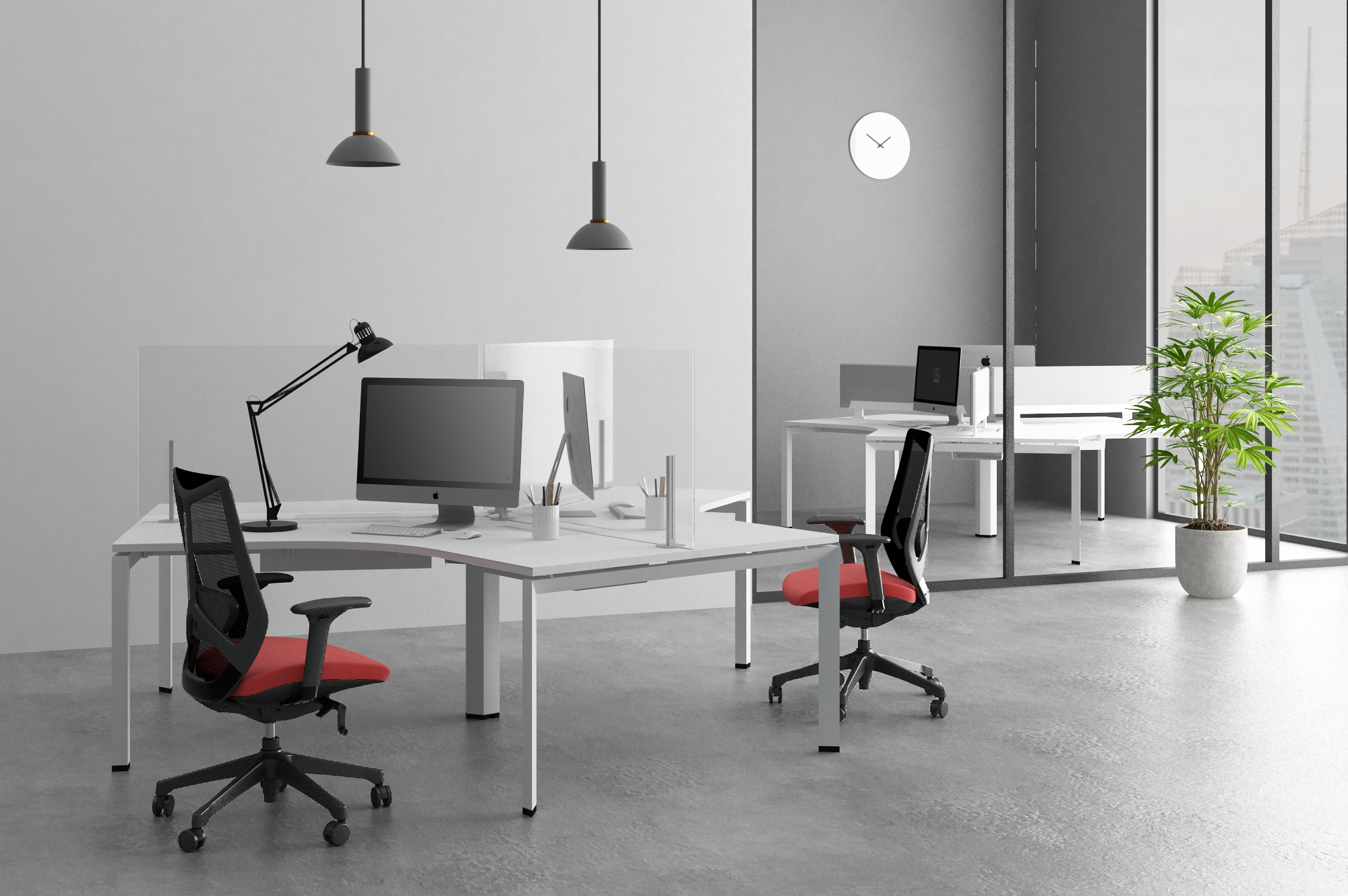 Render of Verity benching workspace with Ignite task seating and shield privacy screens.