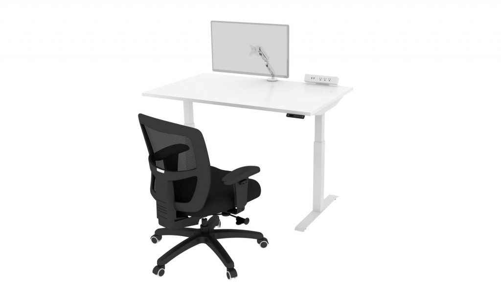 Friant Home Office Cluster B Render: Sit-Stand Desk-_Chair_Monitor Arm_Power