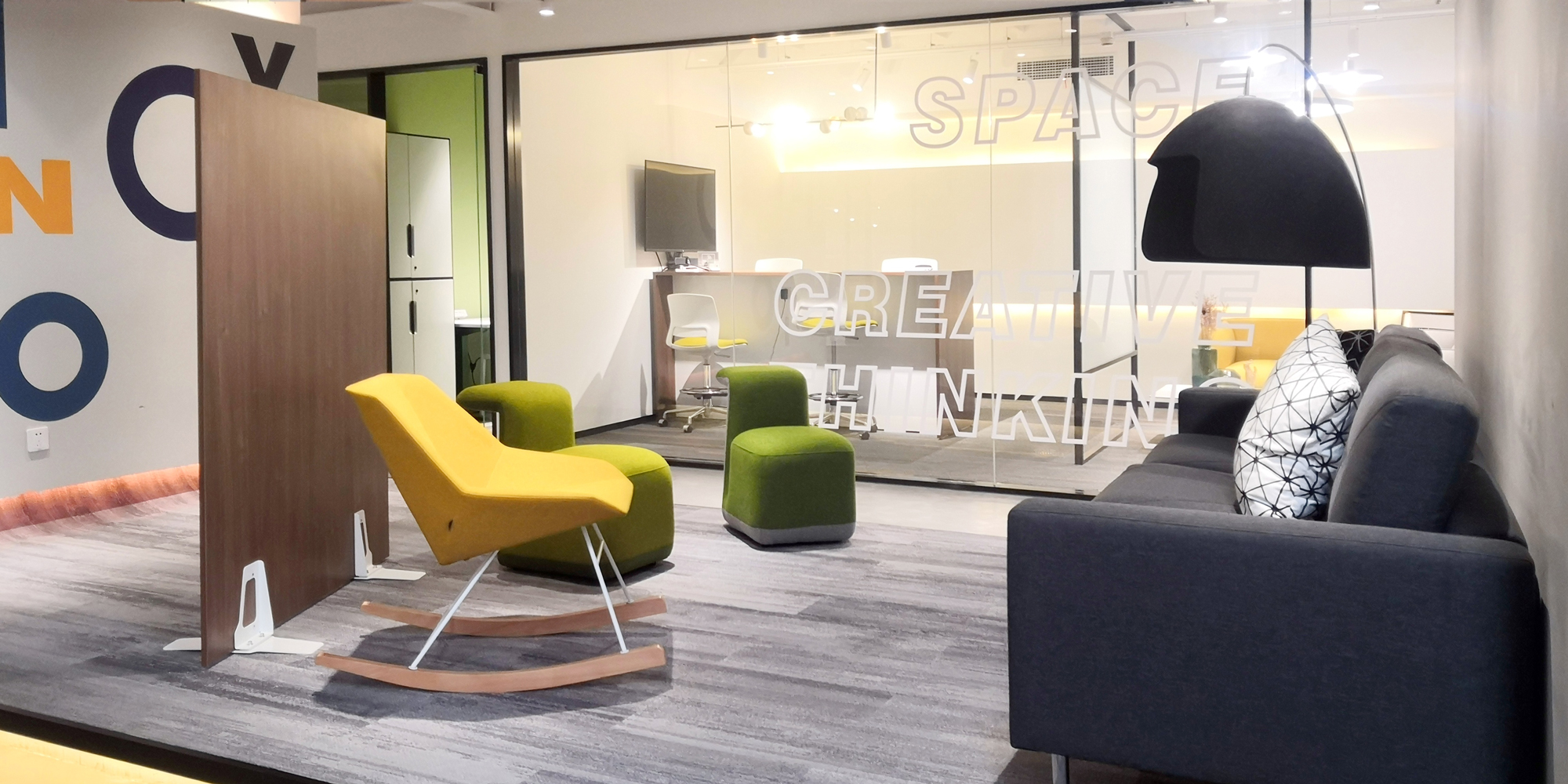 Image showcases Friant Shield panel creating space in a waiting area